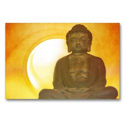 Premium Textil-Leinwand 90 x 60 cm Quer-Format Buddha in aller Stille | Wandbild, HD-Bild auf Keilrahmen, Fertigbild auf hochwertigem Vlies, Leinwanddruck von Claudia Burlager