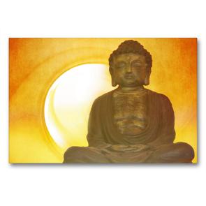 Premium Textil-Leinwand 90 x 60 cm Quer-Format Buddha in aller Stille   Wandbild, HD-Bild auf Keilrahmen, Fertigbild auf hochwertigem Vlies, Leinwanddruck von Claudia Burlager