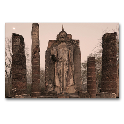 Premium Textil-Leinwand 90 x 60 cm Quer-Format Buddha Statue, Wat Sapham Him, Sukhothai Historical Park, Sukhothai | Wandbild, HD-Bild auf Keilrahmen, Fertigbild auf hochwertigem Vlies, Leinwanddruck von Christian Heeb
