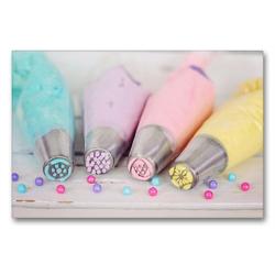 Premium Textil-Leinwand 90 x 60 cm Quer-Format Bunte Cremen für Torten und Cupcakes | Wandbild, HD-Bild auf Keilrahmen, Fertigbild auf hochwertigem Vlies, Leinwanddruck von Rose Hurley