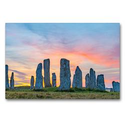 Premium Textil-Leinwand 90 x 60 cm Quer-Format Callanish Stones, Isle of Lewis, Äussere Hebriden, Schottland | Wandbild, HD-Bild auf Keilrahmen, Fertigbild auf hochwertigem Vlies, Leinwanddruck von Harald Schnitzler