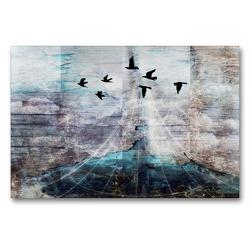 Premium Textil-Leinwand 90 x 60 cm Quer-Format Das Loch im Zaun am Ende der Welt   Wandbild, HD-Bild auf Keilrahmen, Fertigbild auf hochwertigem Vlies, Leinwanddruck von Capitana Art/D.K.Benkwitz
