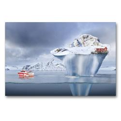 Premium Textil-Leinwand 90 x 60 cm Quer-Format Das Schleppen eines Eisbergs   Wandbild, HD-Bild auf Keilrahmen, Fertigbild auf hochwertigem Vlies, Leinwanddruck von Val Thoermer