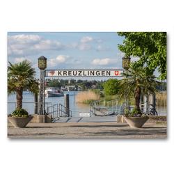 Premium Textil-Leinwand 90 x 60 cm Quer-Format Der Hafen von Kreuzlingen am Bodensee | Wandbild, HD-Bild auf Keilrahmen, Fertigbild auf hochwertigem Vlies, Leinwanddruck von Gabi Emser und Rainer Awiszus-Emser