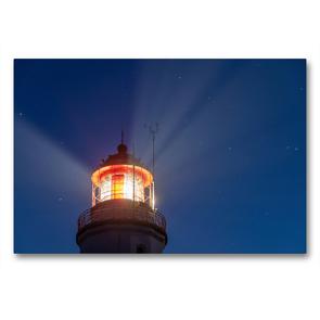 Premium Textil-Leinwand 90 x 60 cm Quer-Format Der Leuchtturm von Hiddensee weist den Seeleuten den Weg | Wandbild, HD-Bild auf Keilrahmen, Fertigbild auf hochwertigem Vlies, Leinwanddruck von Stephan Schulz