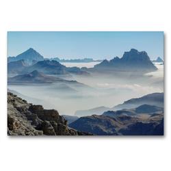 Premium Textil-Leinwand 90 x 60 cm Quer-Format Der Monte Antelao (3264 m) und der Monte Pelmo (3168 m) erheben sich über ein Wolkenmeer in den Dolomiten des Veneto | Wandbild, HD-Bild auf Keilrahmen, Fertigbild auf hochwertigem Vlies, Leinwanddruck von Martin Zwick