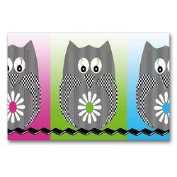 Premium Textil-Leinwand 90 x 60 cm Quer-Format Die drei Eulen | Wandbild, HD-Bild auf Keilrahmen, Fertigbild auf hochwertigem Vlies, Leinwanddruck von Youlia