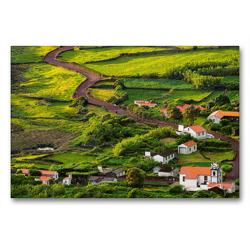 Premium Textil-Leinwand 90 x 60 cm Quer-Format Die Faja dos Cubres auf Sao Jorge, Azoren | Wandbild, HD-Bild auf Keilrahmen, Fertigbild auf hochwertigem Vlies, Leinwanddruck von Martin Zwick
