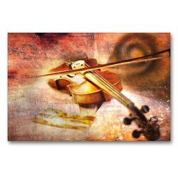 Premium Textil-Leinwand 90 x 60 cm Quer-Format Die Geige | Wandbild, HD-Bild auf Keilrahmen, Fertigbild auf hochwertigem Vlies, Leinwanddruck von Christiane Calmbacher
