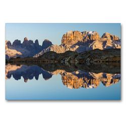 Premium Textil-Leinwand 90 x 60 cm Quer-Format Die Gipfel der Brenta Dolomiten spiegeln sich perfekt im Lago Nero. | Wandbild, HD-Bild auf Keilrahmen, Fertigbild auf hochwertigem Vlies, Leinwanddruck von Martin Zwick