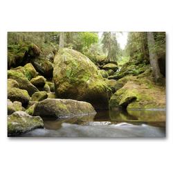 Premium Textil-Leinwand 90 x 60 cm Quer-Format Die Triberger Wasserfälle | Wandbild, HD-Bild auf Keilrahmen, Fertigbild auf hochwertigem Vlies, Leinwanddruck von Flori0