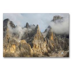 Premium Textil-Leinwand 90 x 60 cm Quer-Format Die wilden Gipfel der Pala Gruppe über dem Val Venegia in den Dolomiten des Trentino | Wandbild, HD-Bild auf Keilrahmen, Fertigbild auf hochwertigem Vlies, Leinwanddruck von Martin Zwick