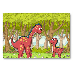 Premium Textil-Leinwand 90 x 60 cm Quer-Format Dinosaurier im Wald | Wandbild, HD-Bild auf Keilrahmen, Fertigbild auf hochwertigem Vlies, Leinwanddruck von Gabi Wolf