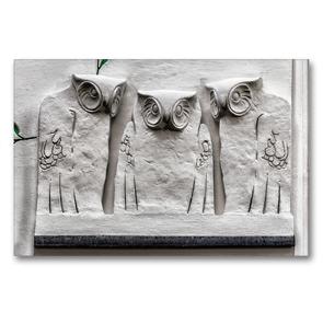 Premium Textil-Leinwand 90 x 60 cm Quer-Format Drei Eulen, Wanddekoration am Sezessionsgebäude | Wandbild, HD-Bild auf Keilrahmen, Fertigbild auf hochwertigem Vlies, Leinwanddruck von Werner Braun