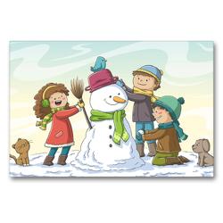 Premium Textil-Leinwand 90 x 60 cm Quer-Format Drei Kinder bauen einen Schneemann   Wandbild, HD-Bild auf Keilrahmen, Fertigbild auf hochwertigem Vlies, Leinwanddruck von Gabi Wolf
