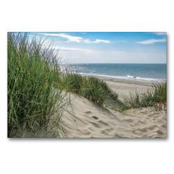 Premium Textil-Leinwand 90 x 60 cm Quer-Format Düne mit Strandgras | Wandbild, HD-Bild auf Keilrahmen, Fertigbild auf hochwertigem Vlies, Leinwanddruck von Susanne Herppich