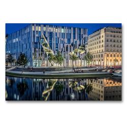 Premium Textil-Leinwand 90 x 60 cm Quer-Format Düsseldorf am Kö Bogen   Wandbild, HD-Bild auf Keilrahmen, Fertigbild auf hochwertigem Vlies, Leinwanddruck von Alexander Gründel
