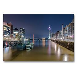 Premium Textil-Leinwand 90 x 60 cm Quer-Format Düsseldorf Medienhafen bei Nacht   Wandbild, HD-Bild auf Keilrahmen, Fertigbild auf hochwertigem Vlies, Leinwanddruck von Alexander Gründel