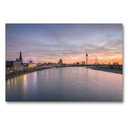 Premium Textil-Leinwand 90 x 60 cm Quer-Format Düsseldorf Skyline   Wandbild, HD-Bild auf Keilrahmen, Fertigbild auf hochwertigem Vlies, Leinwanddruck von Michael Valjak