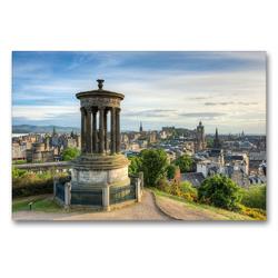 Premium Textil-Leinwand 90 x 60 cm Quer-Format Edinburgh Calton Hill | Wandbild, HD-Bild auf Keilrahmen, Fertigbild auf hochwertigem Vlies, Leinwanddruck von Michael Valjak