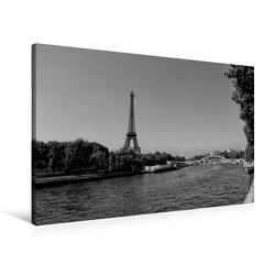 Premium Textil-Leinwand 90 x 60 cm Quer-Format Eiffelturm an der Seine in Paris | Wandbild, HD-Bild auf Keilrahmen, Fertigbild auf hochwertigem Vlies, Leinwanddruck von kattobello von Kattobello,  k.A.