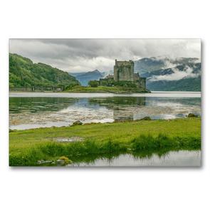 Premium Textil-Leinwand 90 x 60 cm Quer-Format Eilean Donan Castle, Schauplatz des Filmes | Wandbild, HD-Bild auf Keilrahmen, Fertigbild auf hochwertigem Vlies, Leinwanddruck von Julia Elling