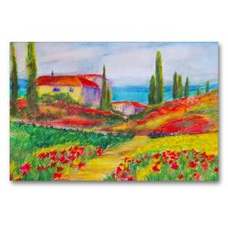 Premium Textil-Leinwand 90 x 60 cm Quer-Format Ein Haus in der Toskana | Wandbild, HD-Bild auf Keilrahmen, Fertigbild auf hochwertigem Vlies, Leinwanddruck von Michaela Schimmack