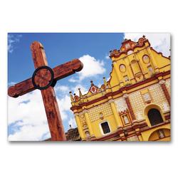 Premium Textil-Leinwand 90 x 60 cm Quer-Format Ein Holzkreuz vor der Kathedrale San Cristobal de las Casas   Wandbild, HD-Bild auf Keilrahmen, Fertigbild auf hochwertigem Vlies, Leinwanddruck von CALVENDO