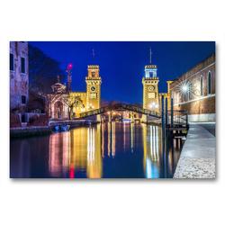 Premium Textil-Leinwand 90 x 60 cm Quer-Format Einfahrt in das Arsenale in Venedig | Wandbild, HD-Bild auf Keilrahmen, Fertigbild auf hochwertigem Vlies, Leinwanddruck von N N