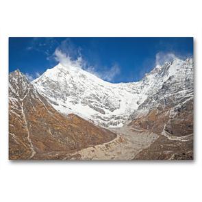 Premium Textil-Leinwand 90 x 60 cm Quer-Format Eisiger Wind am schneebedeckten Gipfel des Langtang Lirung | Wandbild, HD-Bild auf Keilrahmen, Fertigbild auf hochwertigem Vlies, Leinwanddruck von CALVENDO