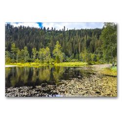 Premium Textil-Leinwand 90 x 60 cm Quer-Format Ellbachsee, Baiersbronn, Schwarzwald   Wandbild, HD-Bild auf Keilrahmen, Fertigbild auf hochwertigem Vlies, Leinwanddruck von Jürgen Feuerer