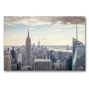 Premium Textil-Leinwand 90 x 60 cm Quer-Format Blick vom Empire State Building zum One World Trade Center | Wandbild, HD-Bild auf Keilrahmen, Fertigbild auf hochwertigem Vlies, Leinwanddruck von Philipp Blaschke