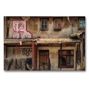 Premium Textil-Leinwand 90 x 60 cm Quer-Format Erfurts Hinterhof | Wandbild, HD-Bild auf Keilrahmen, Fertigbild auf hochwertigem Vlies, Leinwanddruck von Flori0