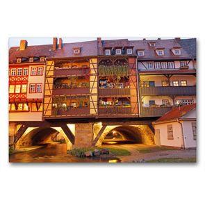 Premium Textil-Leinwand 90 x 60 cm Quer-Format Erfurts Krämerbrücke | Wandbild, HD-Bild auf Keilrahmen, Fertigbild auf hochwertigem Vlies, Leinwanddruck von Flori0