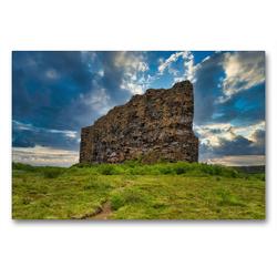 Premium Textil-Leinwand 90 x 60 cm Quer-Format Eyjan Felsen in Asbyrgi | Wandbild, HD-Bild auf Keilrahmen, Fertigbild auf hochwertigem Vlies, Leinwanddruck von Michael Zech Fotografie