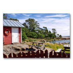 Premium Textil-Leinwand 90 x 60 cm Quer-Format Finnland Sommer   Wandbild, HD-Bild auf Keilrahmen, Fertigbild auf hochwertigem Vlies, Leinwanddruck von Anke Thoschlag