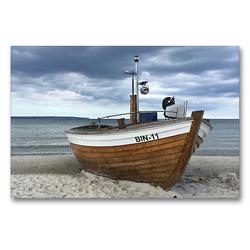 Premium Textil-Leinwand 90 x 60 cm Quer-Format Fischerboot an der Ostsee | Wandbild, HD-Bild auf Keilrahmen, Fertigbild auf hochwertigem Vlies, Leinwanddruck von (c) 2019 by Atlantismedia