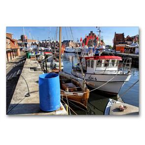 Premium Textil-Leinwand 90 x 60 cm Quer-Format Fischerboote an der Wismarer Fischerpier   Wandbild, HD-Bild auf Keilrahmen, Fertigbild auf hochwertigem Vlies, Leinwanddruck von Holger Felix