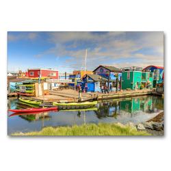 Premium Textil-Leinwand 90 x 60 cm Quer-Format Fisherman's Wharf, ein Juwel im Innenhafen von Victoria, BC.   Wandbild, HD-Bild auf Keilrahmen, Fertigbild auf hochwertigem Vlies, Leinwanddruck von Adrian Geering