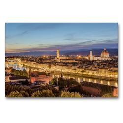 Premium Textil-Leinwand 90 x 60 cm Quer-Format Florenz am Abend | Wandbild, HD-Bild auf Keilrahmen, Fertigbild auf hochwertigem Vlies, Leinwanddruck von Michael Valjak