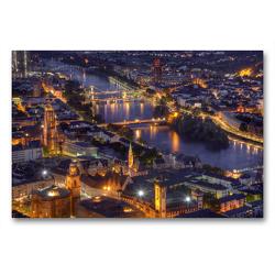 Premium Textil-Leinwand 90 x 60 cm Quer-Format Frankfurt/Main – Fluß Main | Wandbild, HD-Bild auf Keilrahmen, Fertigbild auf hochwertigem Vlies, Leinwanddruck von TJPhotography (Thorsten Jung)