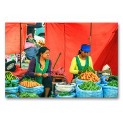Premium Textil-Leinwand 90 x 60 cm Quer-Format Frisches Gemüse für Salat und Eintopf und der Lolly im Mund – Marktimpression | Wandbild, HD-Bild auf Keilrahmen, Fertigbild auf hochwertigem Vlies, Leinwanddruck von Bettina Hackstein