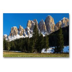 Premium Textil-Leinwand 90 x 60 cm Quer-Format Frühling auf der Zanser Alm und den mächtigen Gipfeln der Geislergruppe in den Dolomiten Südtirols | Wandbild, HD-Bild auf Keilrahmen, Fertigbild auf hochwertigem Vlies, Leinwanddruck von Martin Zwick