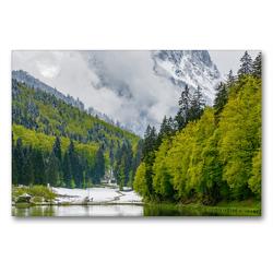 Premium Textil-Leinwand 90 x 60 cm Quer-Format Frühlingserwachen am See | Wandbild, HD-Bild auf Keilrahmen, Fertigbild auf hochwertigem Vlies, Leinwanddruck von Dieter-M. Wilczek