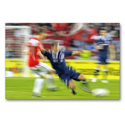 Premium Textil-Leinwand 90 x 60 cm Quer-Format Fußball for ever: Zweikampf | Wandbild, HD-Bild auf Keilrahmen, Fertigbild auf hochwertigem Vlies, Leinwanddruck von CALVENDO