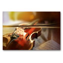 Premium Textil-Leinwand 90 x 60 cm Quer-Format Geige mit Bogen | Wandbild, HD-Bild auf Keilrahmen, Fertigbild auf hochwertigem Vlies, Leinwanddruck von Christiane Calmbacher