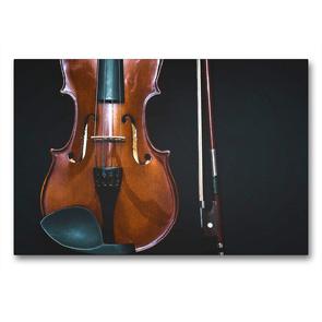 Premium Textil-Leinwand 90 x 60 cm Quer-Format Geige mit Geigenbogen | Wandbild, HD-Bild auf Keilrahmen, Fertigbild auf hochwertigem Vlies, Leinwanddruck von Renate Bleicher