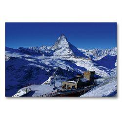 Premium Textil-Leinwand 90 x 60 cm Quer-Format Gornergrat mit Matterhorn. Zermatt | Wandbild, HD-Bild auf Keilrahmen, Fertigbild auf hochwertigem Vlies, Leinwanddruck von Susan Michel / CH