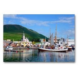 Premium Textil-Leinwand 90 x 60 cm Quer-Format Hafen von Husavik | Wandbild, HD-Bild auf Keilrahmen, Fertigbild auf hochwertigem Vlies, Leinwanddruck von Frauke Scholz