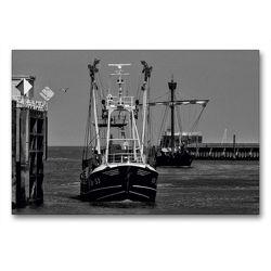 Premium Textil-Leinwand 90 x 60 cm Quer-Format Hafeneinfahrt | Wandbild, HD-Bild auf Keilrahmen, Fertigbild auf hochwertigem Vlies, Leinwanddruck von kattobello